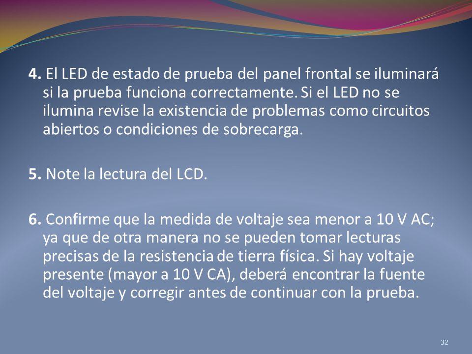 4. El LED de estado de prueba del panel frontal se iluminará si la prueba funciona correctamente. Si el LED no se ilumina revise la existencia de problemas como circuitos abiertos o condiciones de sobrecarga.