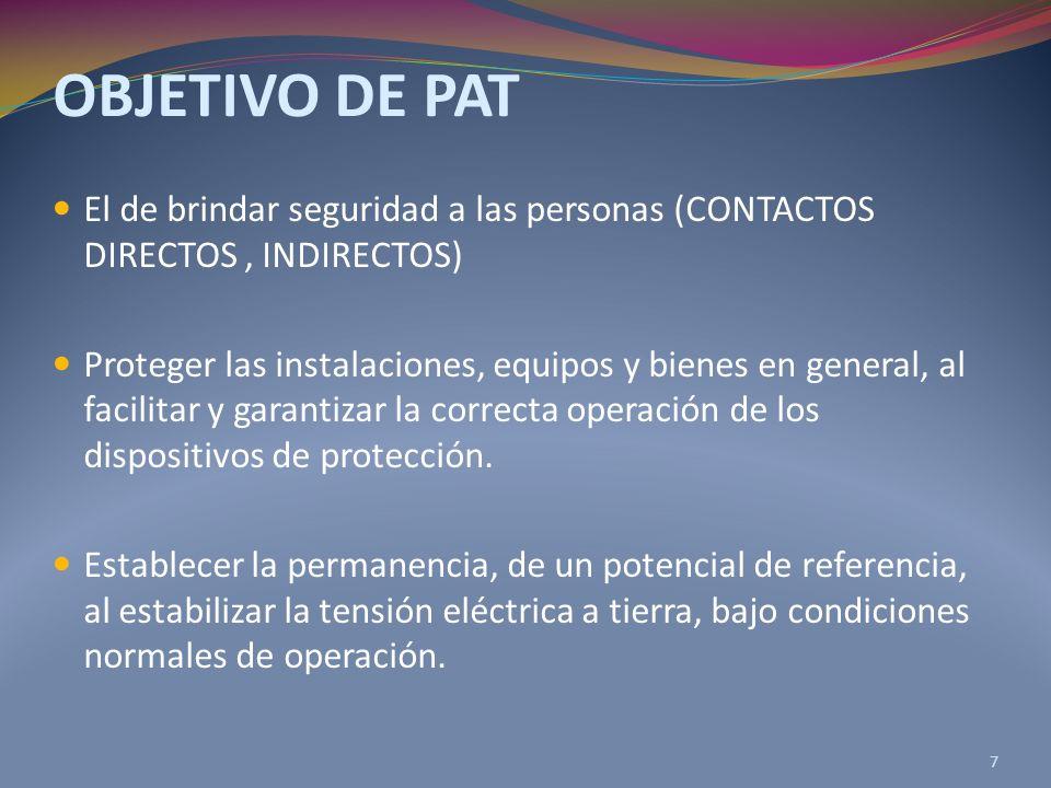 OBJETIVO DE PAT El de brindar seguridad a las personas (CONTACTOS DIRECTOS , INDIRECTOS)