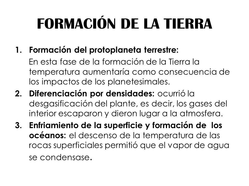 FORMACIÓN DE LA TIERRA Formación del protoplaneta terrestre:
