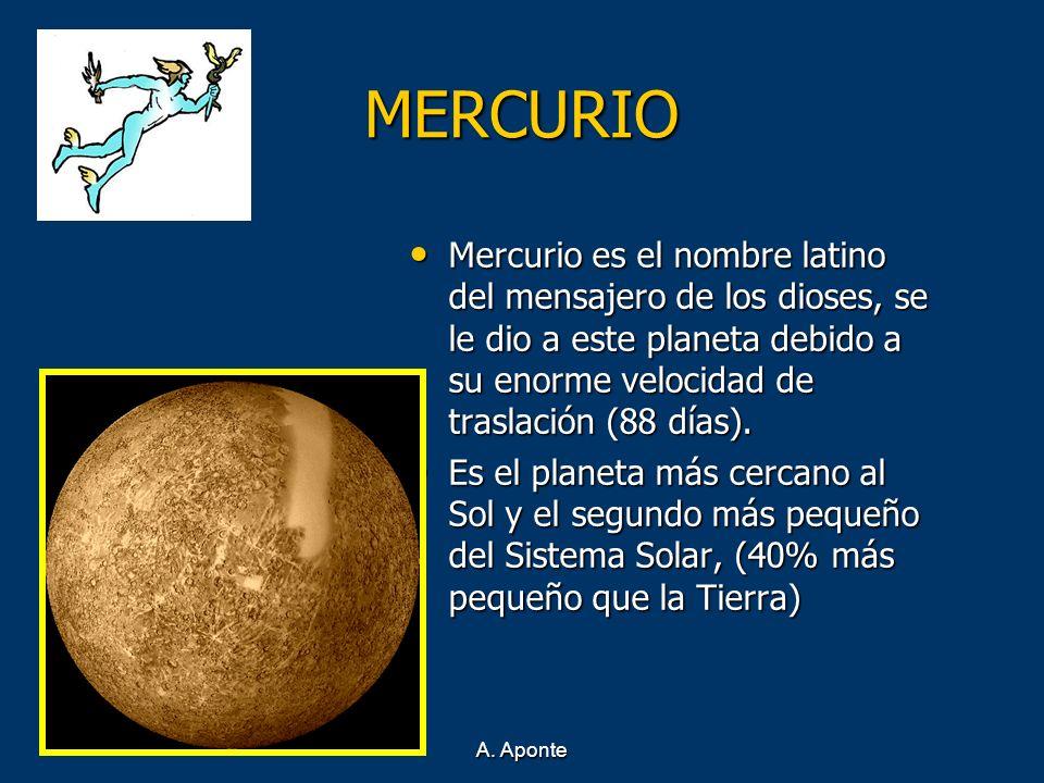 MERCURIO Mercurio es el nombre latino del mensajero de los dioses, se le dio a este planeta debido a su enorme velocidad de traslación (88 días).
