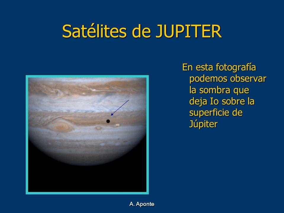 Satélites de JUPITER En esta fotografía podemos observar la sombra que deja Io sobre la superficie de Júpiter.