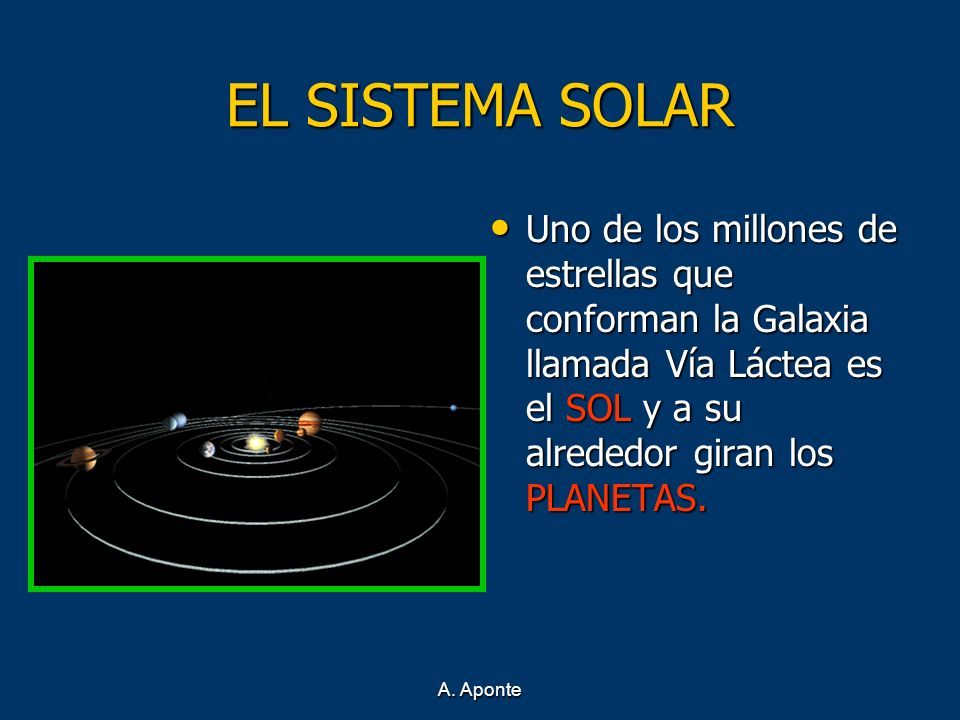 EL SISTEMA SOLAR Uno de los millones de estrellas que conforman la Galaxia llamada Vía Láctea es el SOL y a su alrededor giran los PLANETAS.