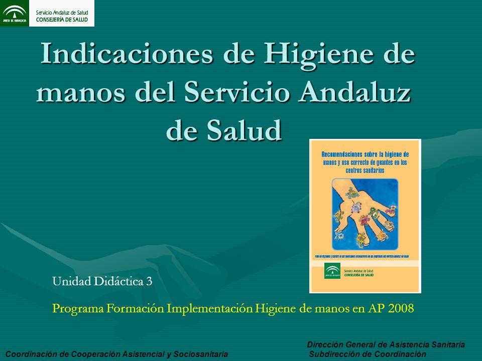 Indicaciones de Higiene de manos del Servicio Andaluz de Salud