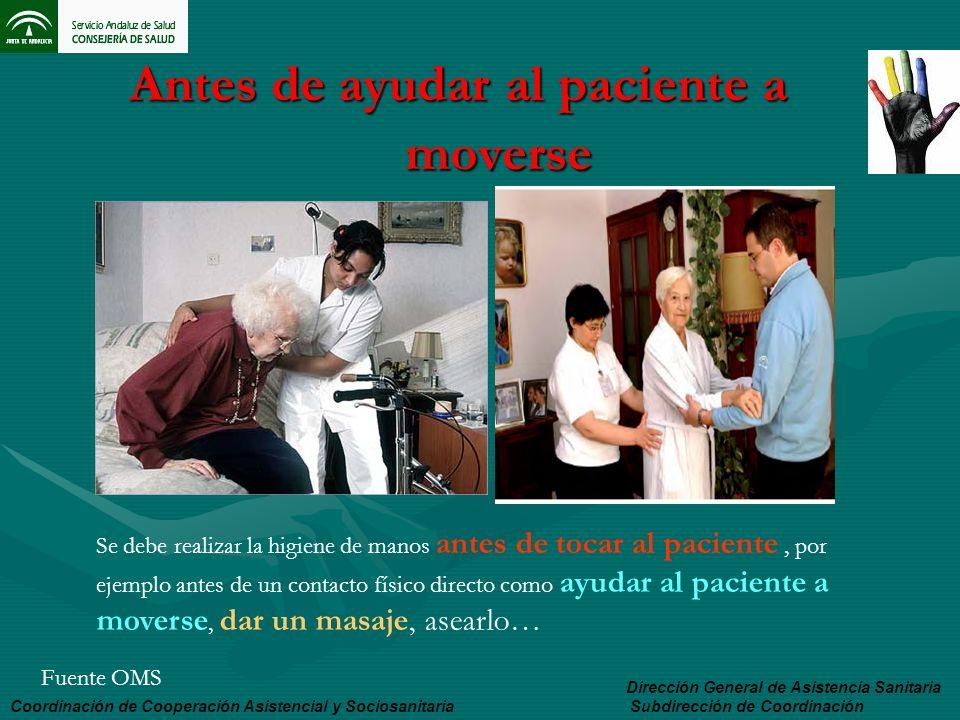 Antes de ayudar al paciente a moverse