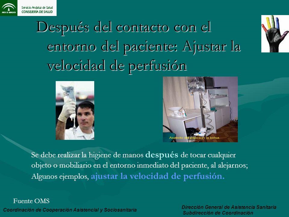 Después del contacto con el entorno del paciente: Ajustar la velocidad de perfusión