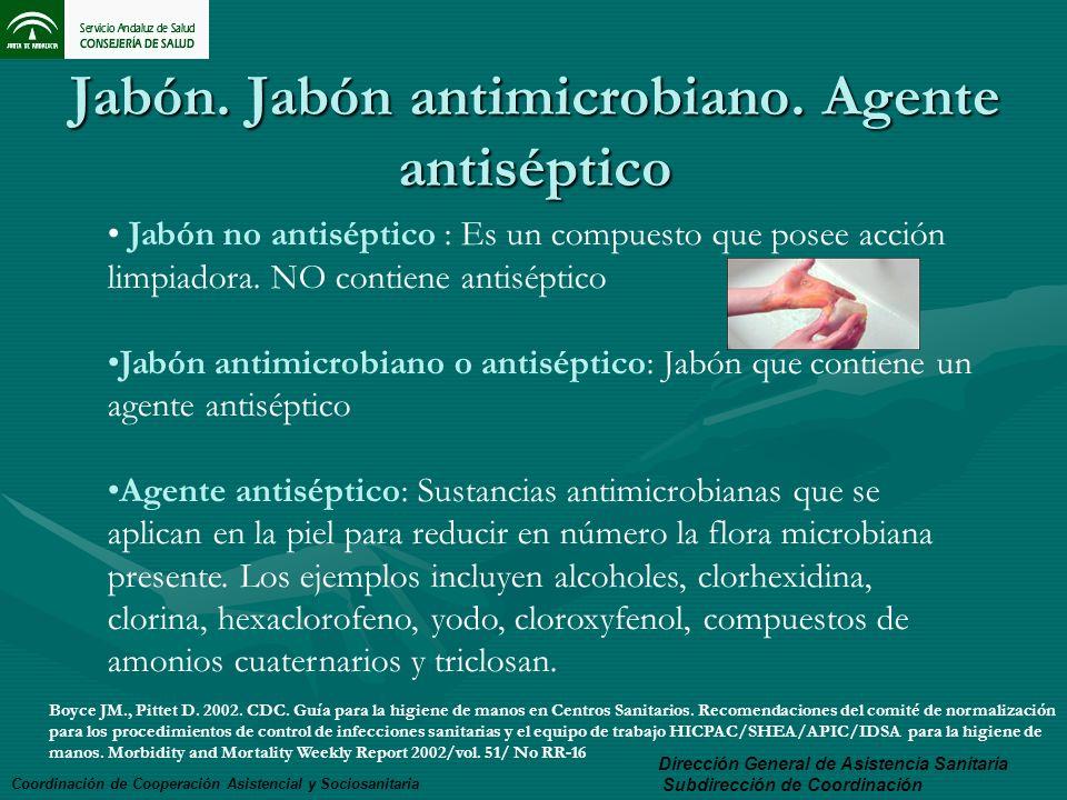Jabón. Jabón antimicrobiano. Agente antiséptico