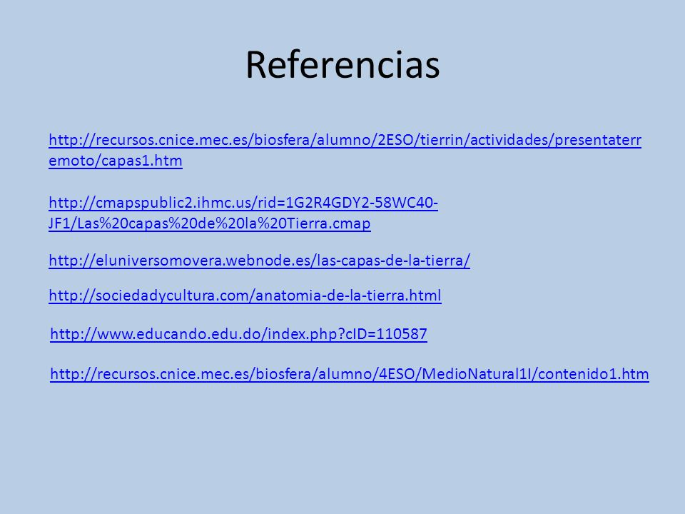 Referenciashttp://recursos.cnice.mec.es/biosfera/alumno/2ESO/tierrin/actividades/presentaterremoto/capas1.htm.