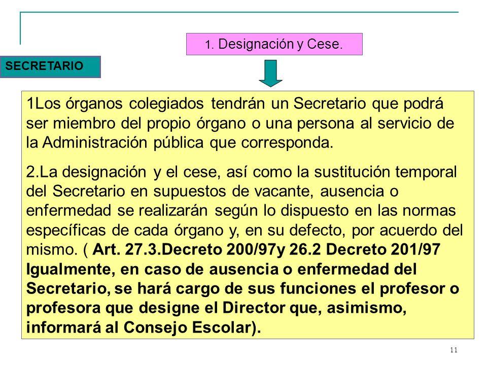 1. Designación y Cese. SECRETARIO.