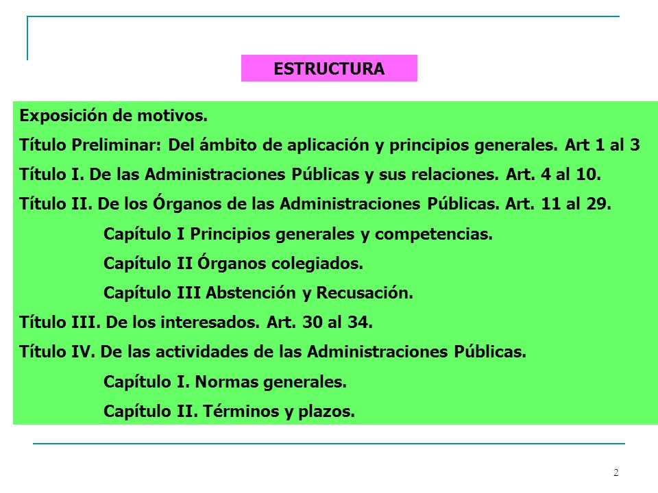 ESTRUCTURA Exposición de motivos. Título Preliminar: Del ámbito de aplicación y principios generales. Art 1 al 3.