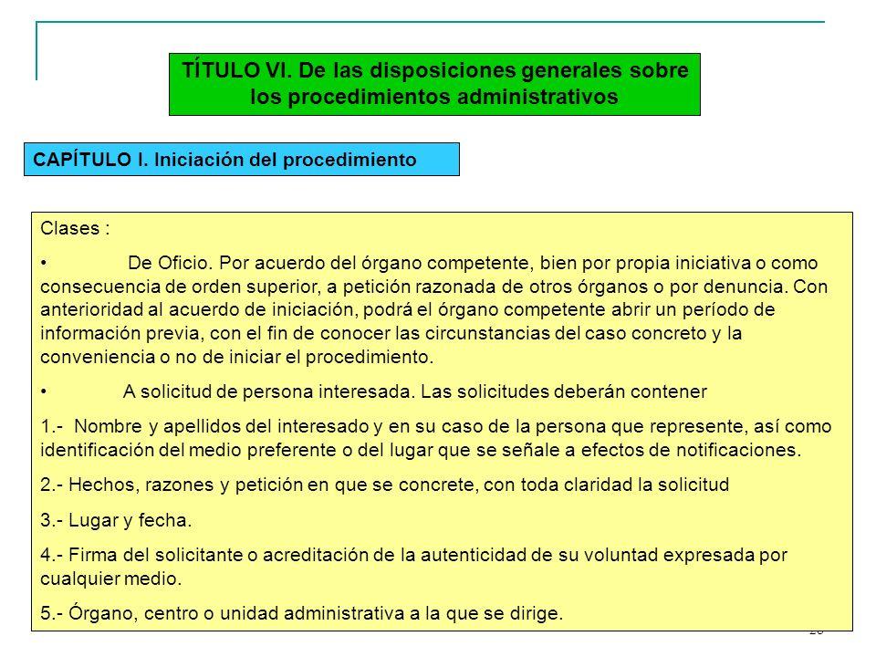 TÍTULO VI. De las disposiciones generales sobre los procedimientos administrativos