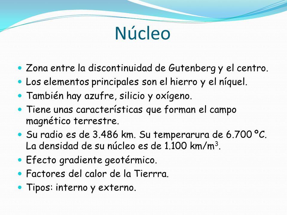 Núcleo Zona entre la discontinuidad de Gutenberg y el centro.