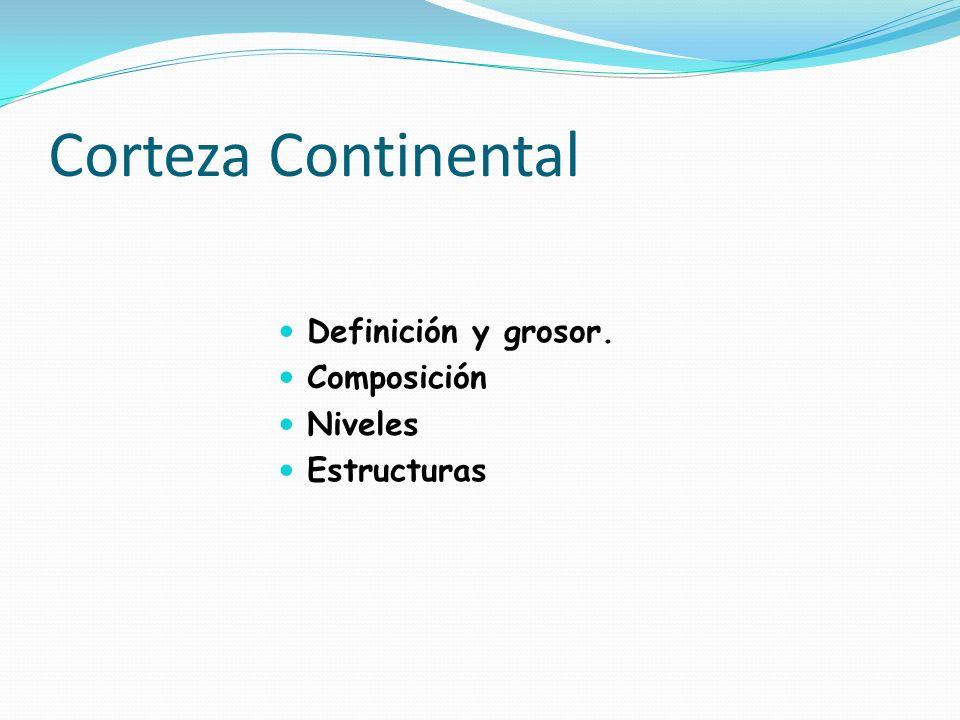 Corteza Continental Definición y grosor. Composición Niveles