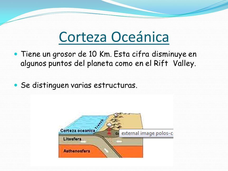 Corteza Oceánica Tiene un grosor de 10 Km. Esta cifra disminuye en algunos puntos del planeta como en el Rift Valley.