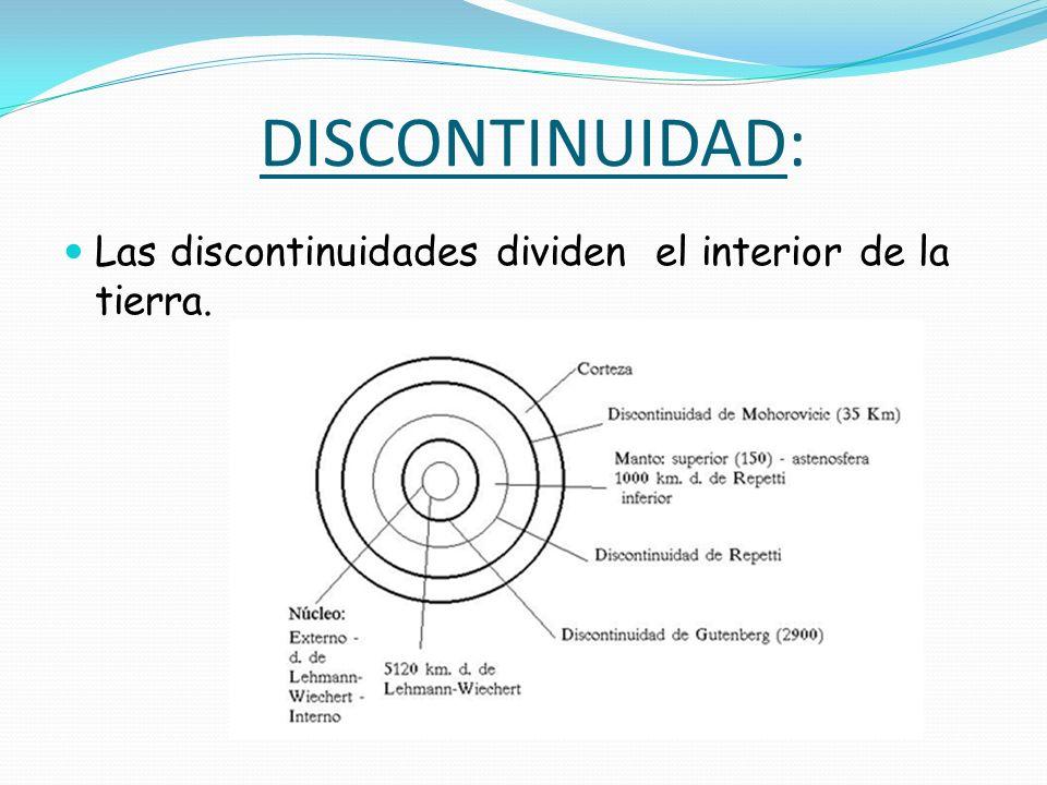DISCONTINUIDAD: Las discontinuidades dividen el interior de la tierra.