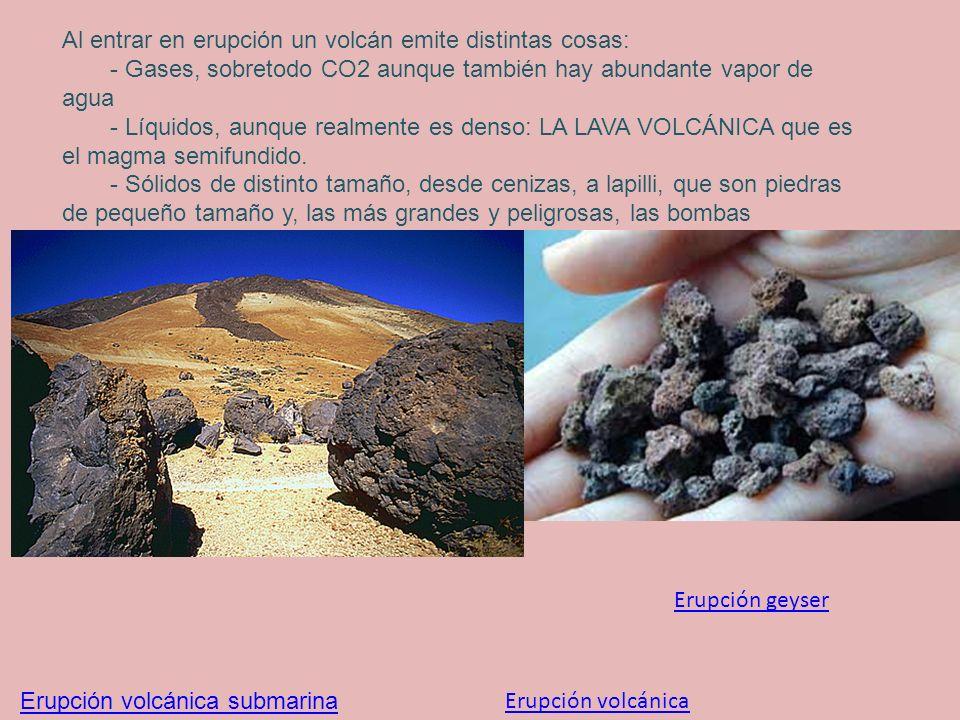 Al entrar en erupción un volcán emite distintas cosas: