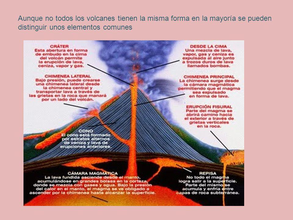 Aunque no todos los volcanes tienen la misma forma en la mayoría se pueden distinguir unos elementos comunes