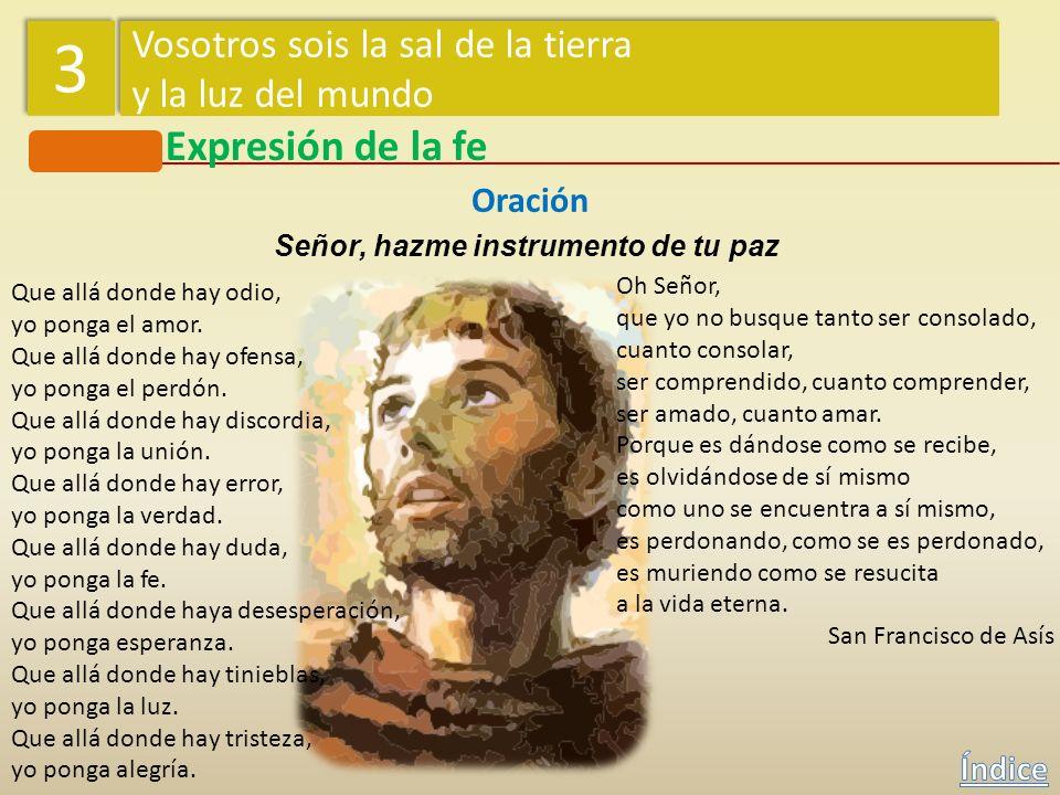 3 Expresión de la fe Vosotros sois la sal de la tierra
