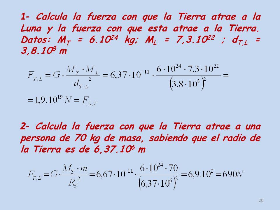 1- Calcula la fuerza con que la Tierra atrae a la Luna y la fuerza con que esta atrae a la Tierra. Datos: MT = 6.1024 kg; ML = 7,3.1022 ; dT,L = 3,8.108 m