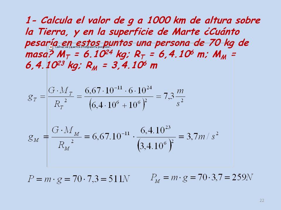 1- Calcula el valor de g a 1000 km de altura sobre la Tierra, y en la superficie de Marte ¿Cuánto pesaría en estos puntos una persona de 70 kg de masa.