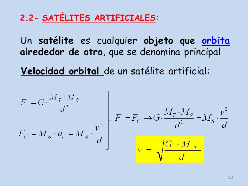 Velocidad orbital de un satélite artificial: