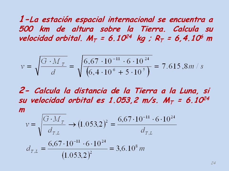 1-La estación espacial internacional se encuentra a 500 km de altura sobre la Tierra. Calcula su velocidad orbital. MT = 6.1024 kg ; RT = 6,4.106 m