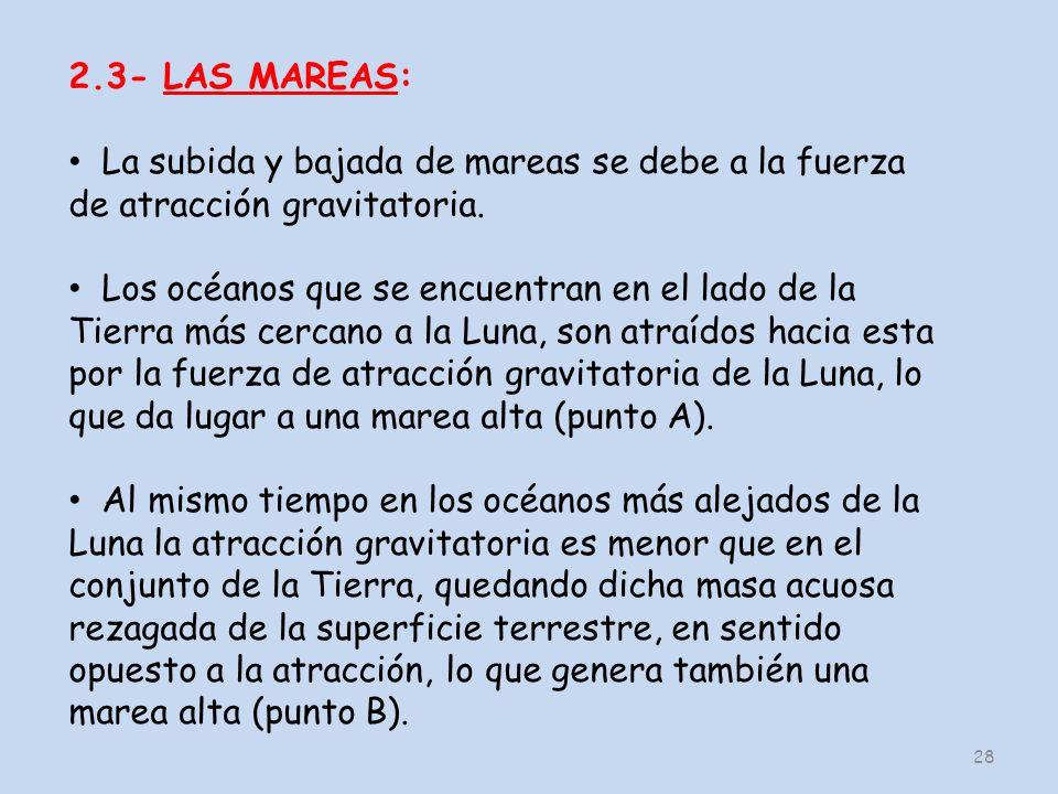 2.3- LAS MAREAS: La subida y bajada de mareas se debe a la fuerza de atracción gravitatoria.