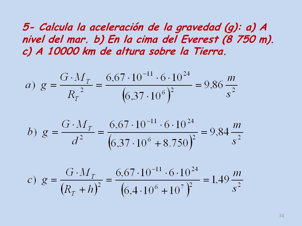 5- Calcula la aceleración de la gravedad (g): a) A nivel del mar