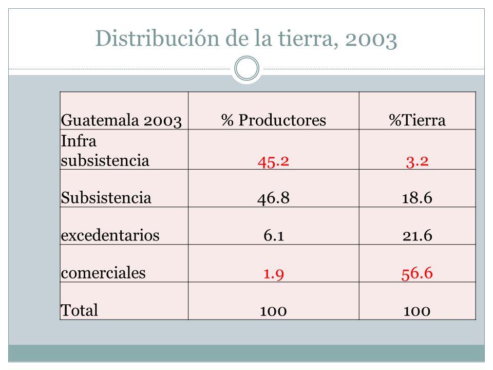 Distribución de la tierra, 2003