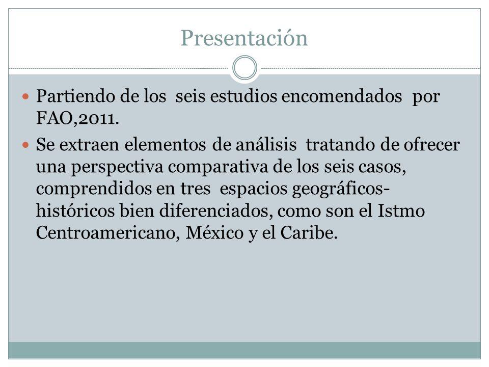 Presentación Partiendo de los seis estudios encomendados por FAO,2011.