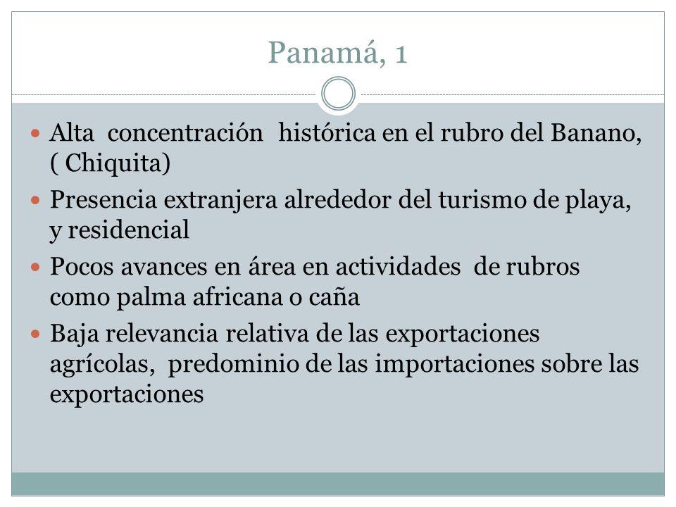 Panamá, 1 Alta concentración histórica en el rubro del Banano, ( Chiquita) Presencia extranjera alrededor del turismo de playa, y residencial.