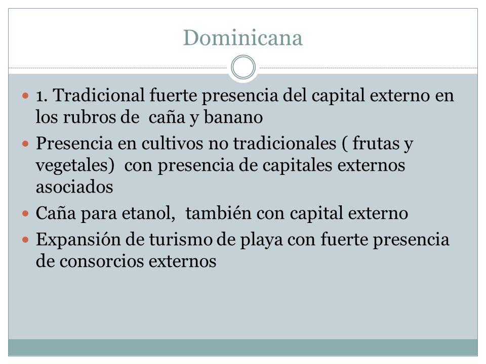 Dominicana 1. Tradicional fuerte presencia del capital externo en los rubros de caña y banano.