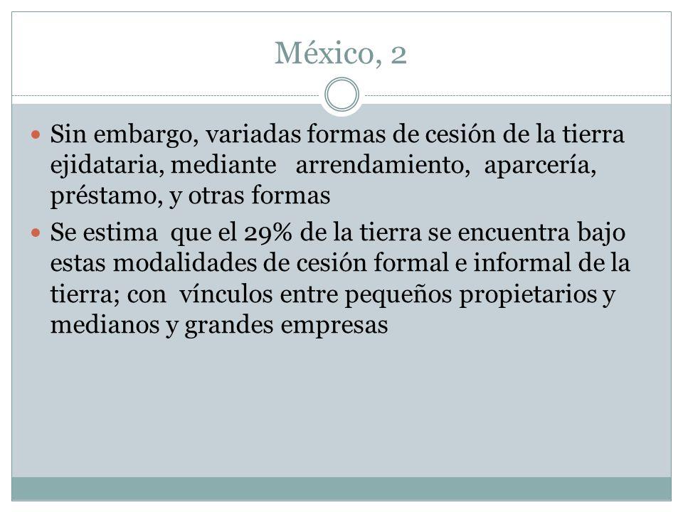 México, 2 Sin embargo, variadas formas de cesión de la tierra ejidataria, mediante arrendamiento, aparcería, préstamo, y otras formas.