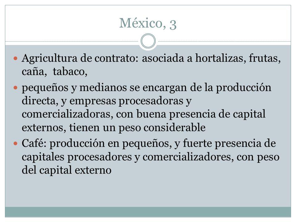 México, 3 Agricultura de contrato: asociada a hortalizas, frutas, caña, tabaco,