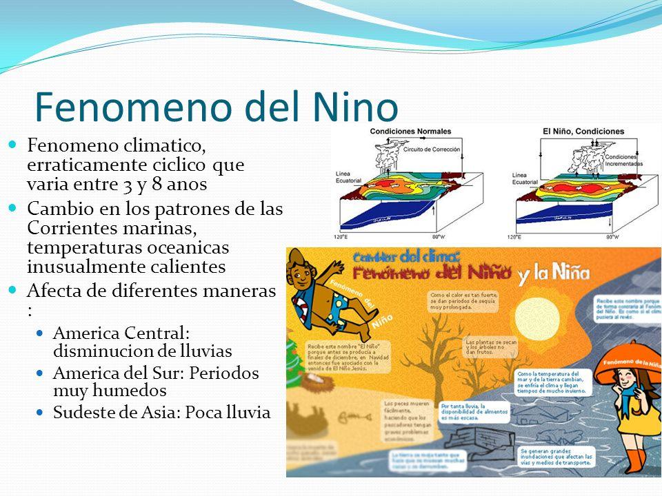 Fenomeno del Nino Fenomeno climatico, erraticamente ciclico que varia entre 3 y 8 anos.