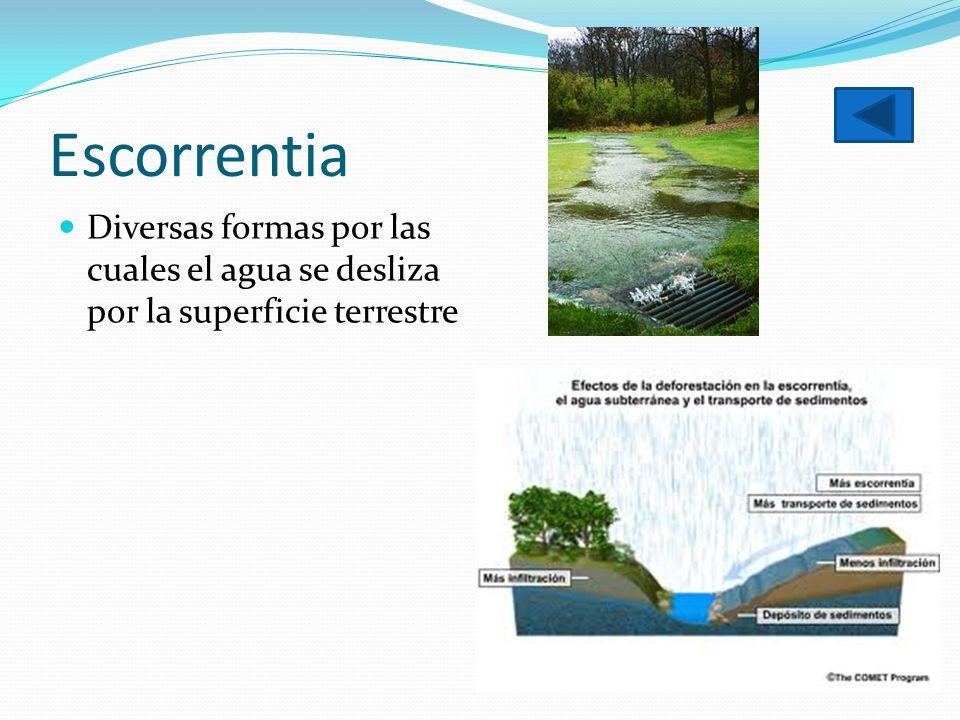 Escorrentia Diversas formas por las cuales el agua se desliza por la superficie terrestre