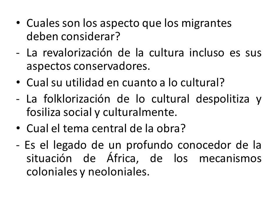 Cuales son los aspecto que los migrantes deben considerar