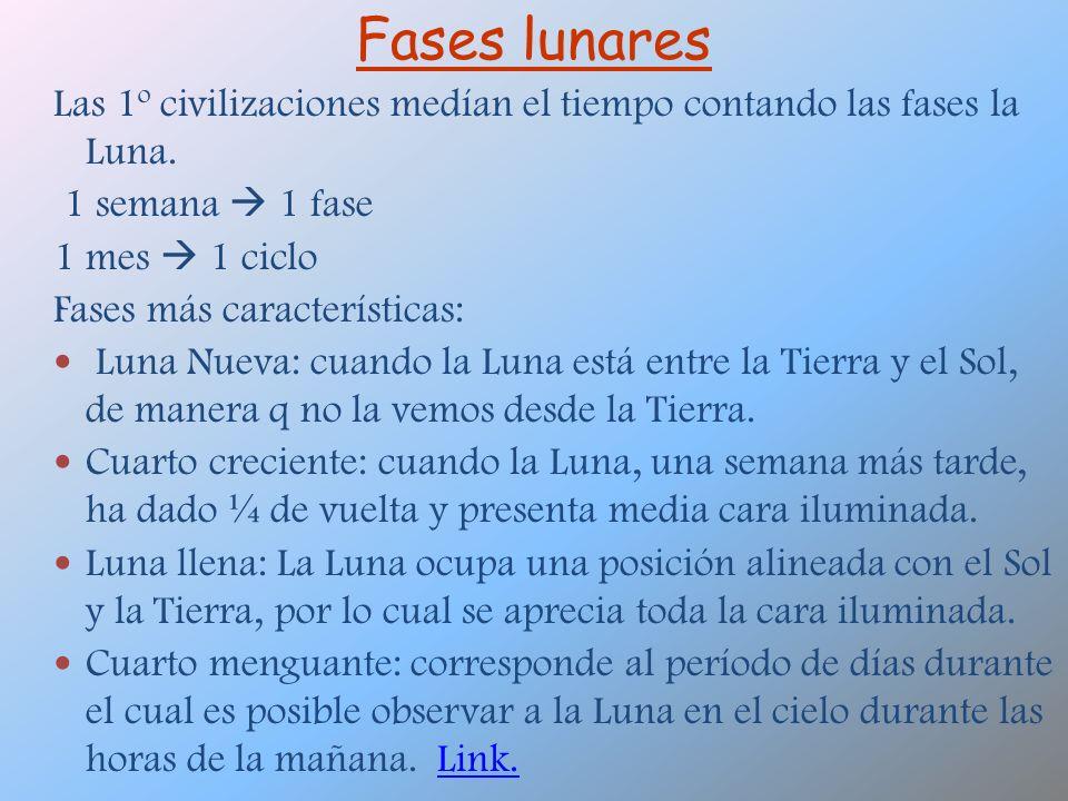 Fases lunares Las 1º civilizaciones medían el tiempo contando las fases la Luna. 1 semana  1 fase.