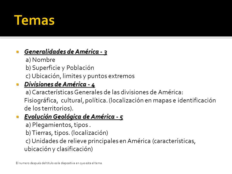 Temas Generalidades de América - 3 a) Nombre b) Superficie y Población