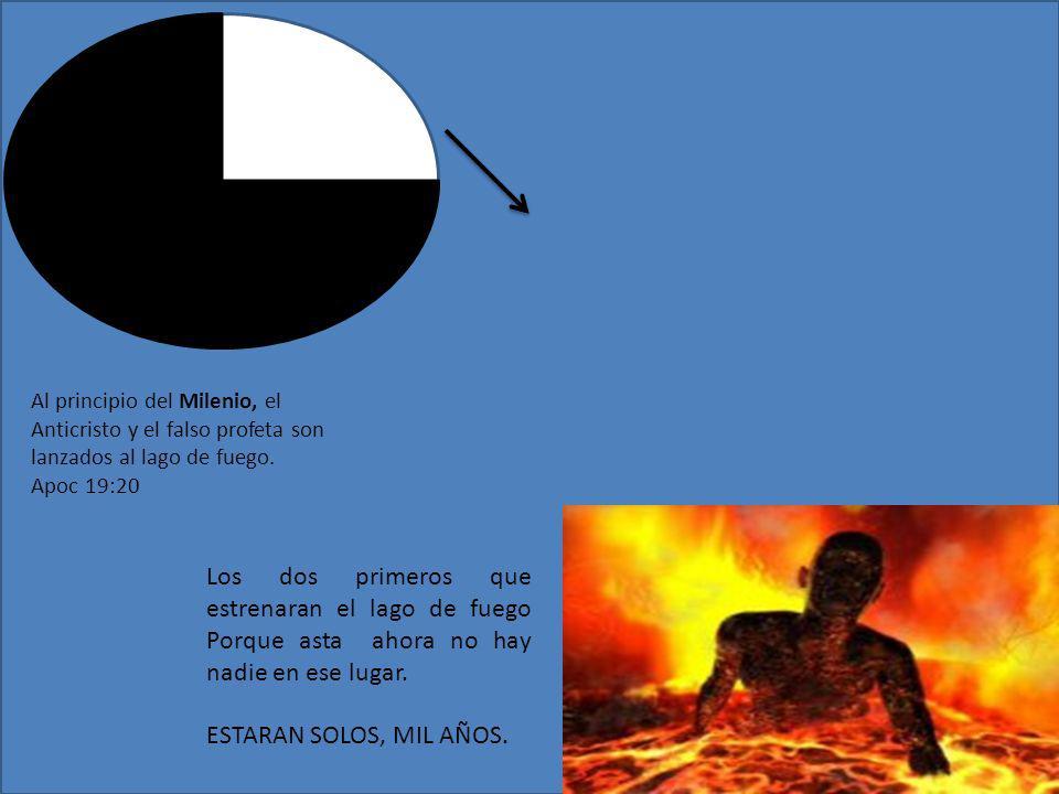 Al principio del Milenio, el Anticristo y el falso profeta son lanzados al lago de fuego. Apoc 19:20
