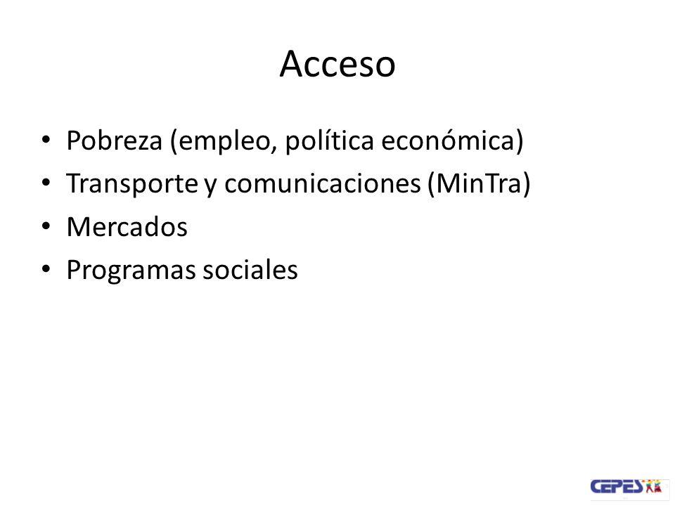 Acceso Pobreza (empleo, política económica)