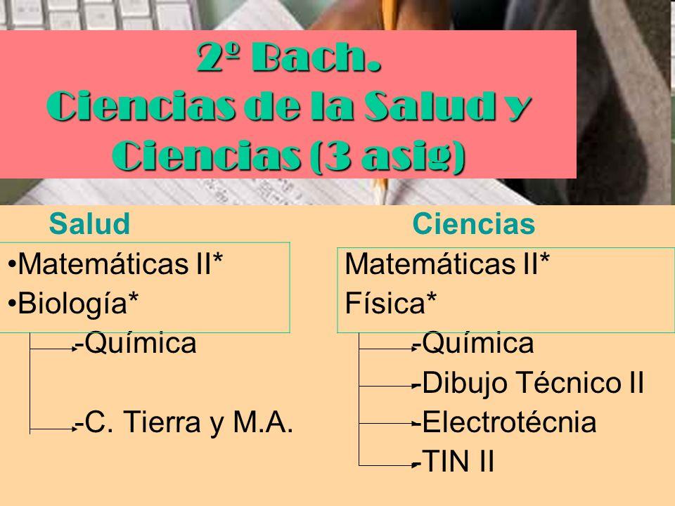 2º Bach. Ciencias de la Salud y Ciencias (3 asig)