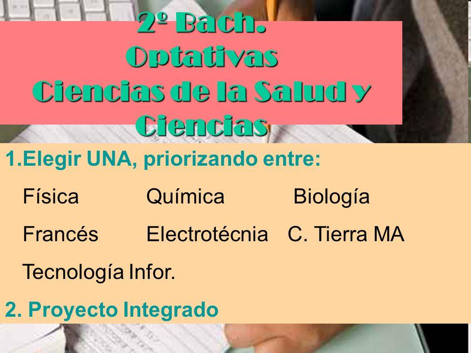 2º Bach. Optativas Ciencias de la Salud y Ciencias
