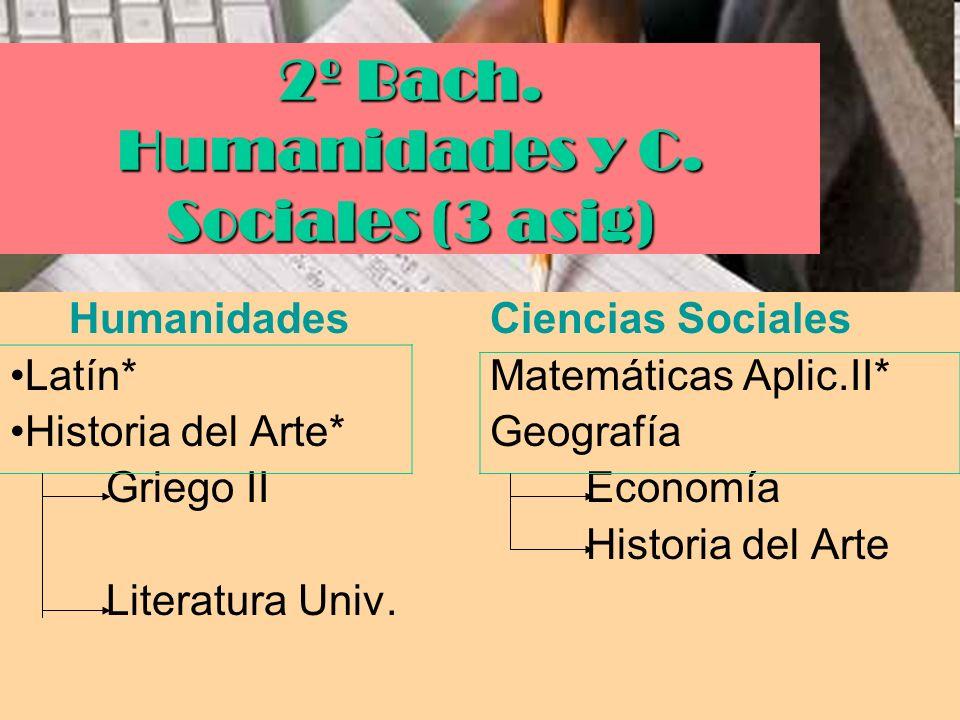2º Bach. Humanidades y C. Sociales (3 asig)