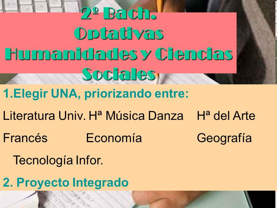 2º Bach. Optativas Humanidades y Ciencias Sociales