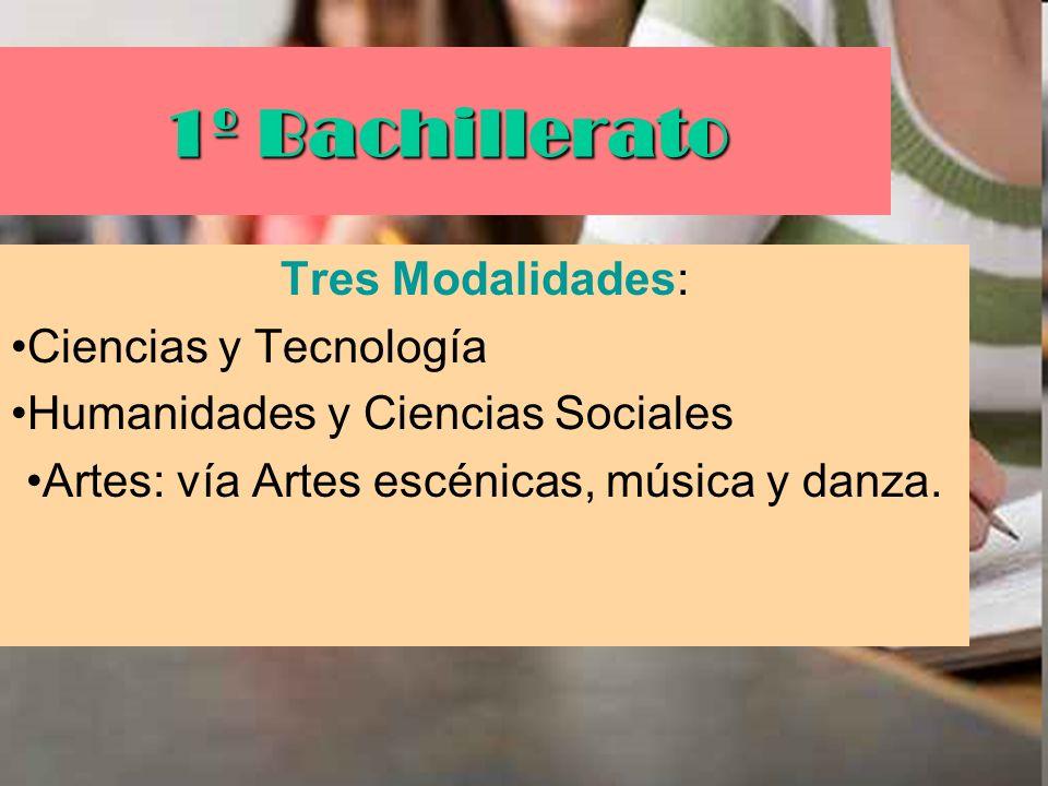 Artes: vía Artes escénicas, música y danza.