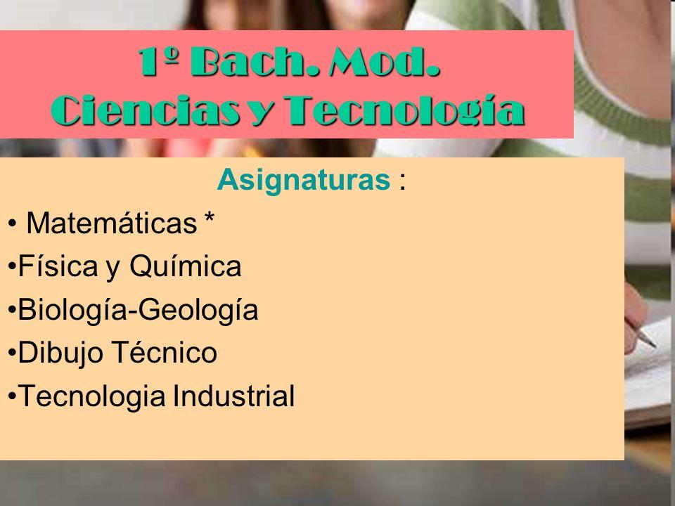 1º Bach. Mod. Ciencias y Tecnología