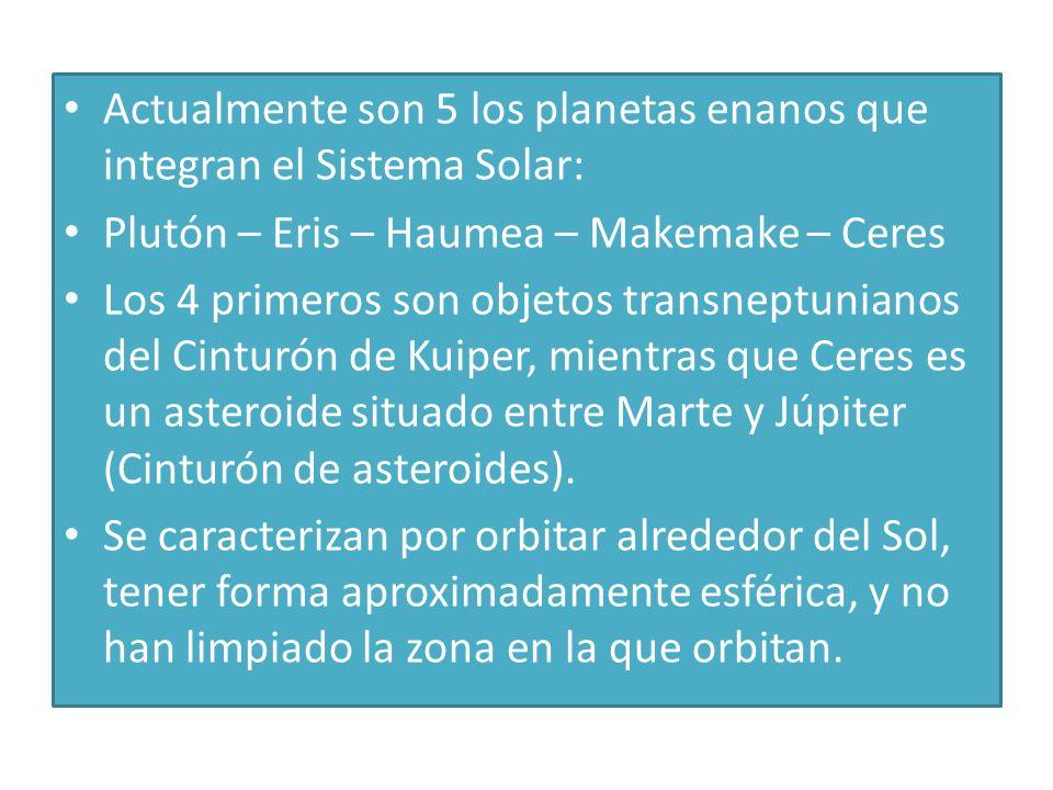 Actualmente son 5 los planetas enanos que integran el Sistema Solar:
