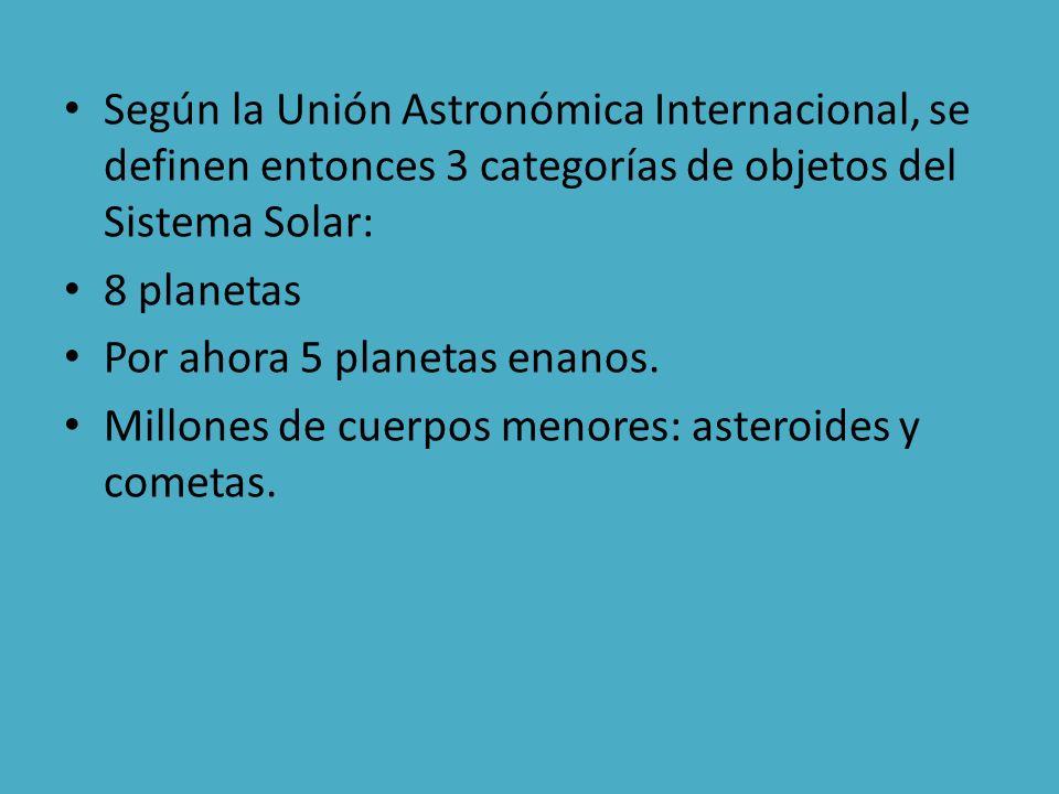 Según la Unión Astronómica Internacional, se definen entonces 3 categorías de objetos del Sistema Solar: