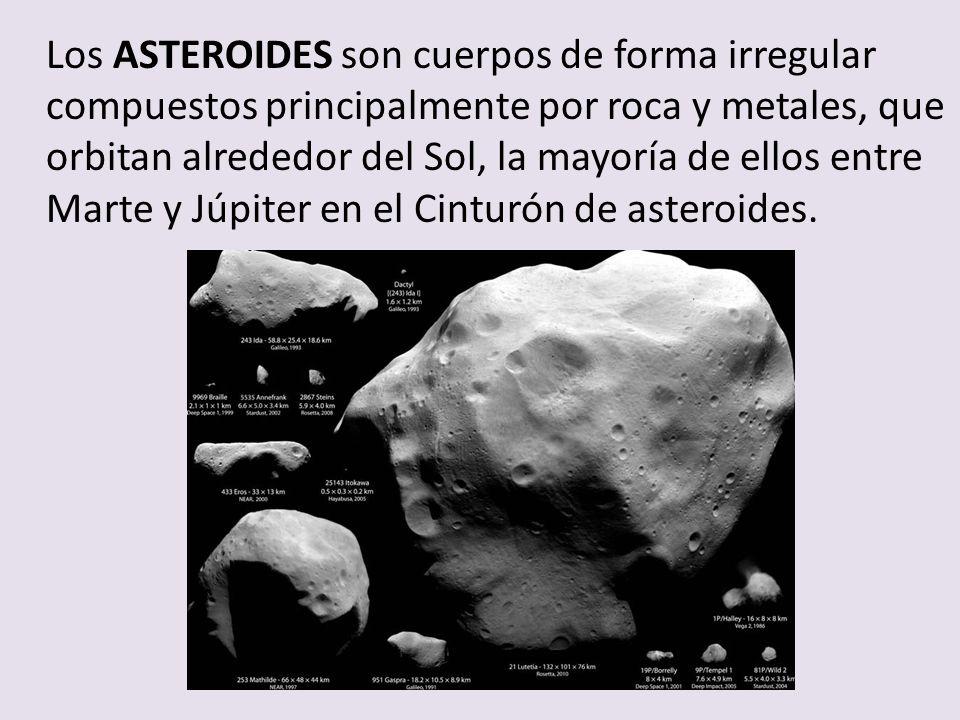 Los ASTEROIDES son cuerpos de forma irregular compuestos principalmente por roca y metales, que orbitan alrededor del Sol, la mayoría de ellos entre Marte y Júpiter en el Cinturón de asteroides.
