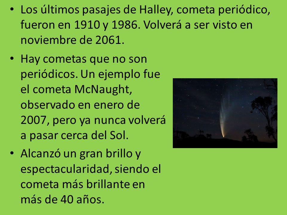 Los últimos pasajes de Halley, cometa periódico, fueron en 1910 y 1986
